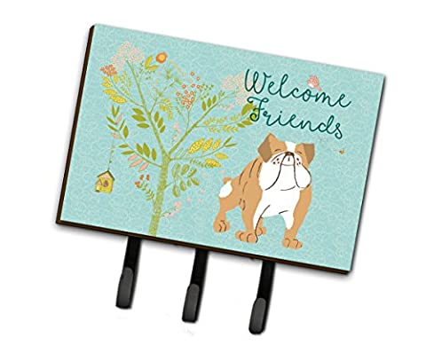 Caroline's Treasures Welcome Friends English Bulldog Wall Hook, Triple, Multicolor - Bulldog Leash Hook