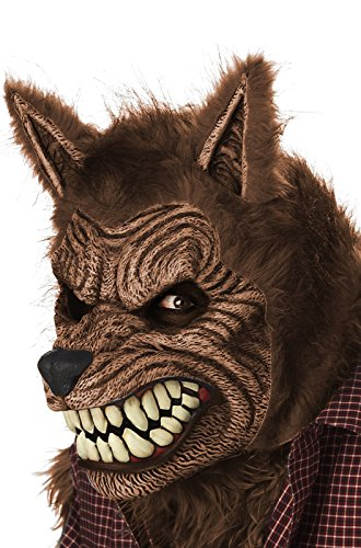 California Costumes Men's Werewolf Ani-Motion Mask Lycan Horror, Brown, One Size (Wolf Masks For Adults)