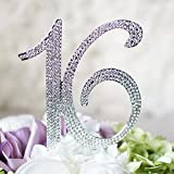 Number''16'' Sweet 16 Birthday Cake Topper - Monogram Rhinestone Silhouette w/Crystals