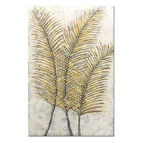 Wall Painted Hand Canvas Hangings - Yotree Paintings, 24x36 Inch Paintings Yellow Gold Leaves Gold Feather Oil Hand Painting 3D Hand-Painted On Canvas Abstract Artwork Art Wood Inside Framed Hanging Wall Decoration