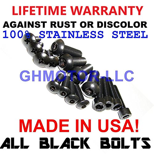 - GHMotor Fairings Bolts Screws Fasteners Kit Set Made in USA for 1991 1992 1993 KAWASAKI ZX7 ZX-7 - Black