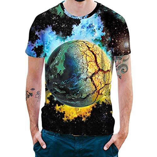 Caopixx 2018 Mens 3D Star Print Top Blouse Summer Short Sleeve Casual Tee T-Shirts Cotton Shirts (Asia Size M, Blue)