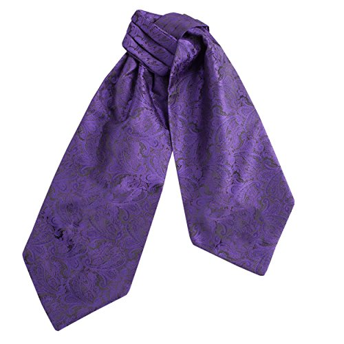 CRT026-Mens Silk Feel Elegant Cravat Classic Ascot Tie in Purple Paisley Print