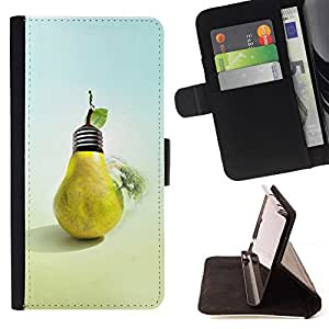 - Design Pear Bulb - - Monedero PU titular de la tarjeta de cr????dito de cuero cubierta de la caja de la bolsa FOR Samsung Galaxy Core Prime RetroCandy
