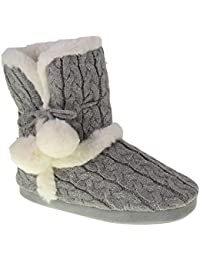 Ladies POM POM Plush & Knit Slipper Boot