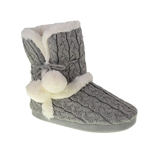 Chinese Laundry Womens Bootie Slipper, with Pom Poms, Plush & Knit Slipper Bootie with Memory Foam, Grey, Size Small 5/6 ()