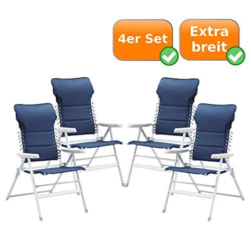 Hervorragend bequemer & gepolsteter Campingstuhl - Gartenstuhl - Liegestuhl - extra hoch mit integrierten Kopfkissen (4x in navy)