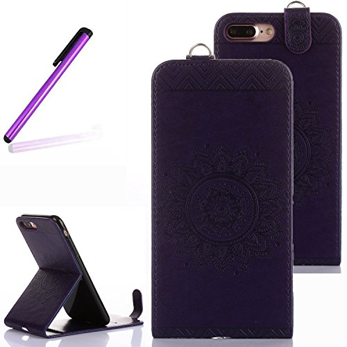 iPhone 7 Plus Case,iPhone 7 Plus Stand Cover,LEECO Vertical Flip Soft PU Leather Wallet Magnetic Closure with Credit Card Holder for Apple iPhone 7 Plus 2016 5.5 inch Totems Dark - Dark Purple Case