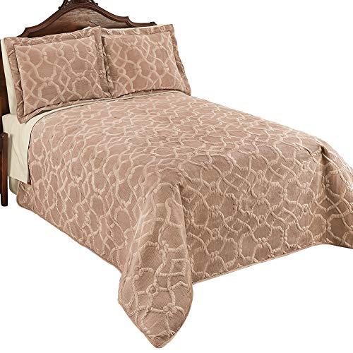 - Collections Etc Elegant Velvet Embossed Lattice Pattern Quilt, Taupe, Full/Queen