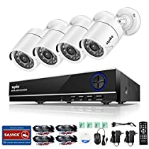 SANNCE 8CH 1080N Camera Security System Surveillance DVR and (4) 720P 1280TVL Indoor/Outdoor Weatherproof Night Vision CCTV Cameras, NO HDD