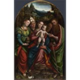 Cotton Canvas ,the Reproductions Art Decorative Prints on Canvas of oil painting 'Bernardino Lanino - The Madonna and Child with Saints,1543', 16x25 inch / 41x63 cm is best for Bathroom artwork and Home decoration and Gifts