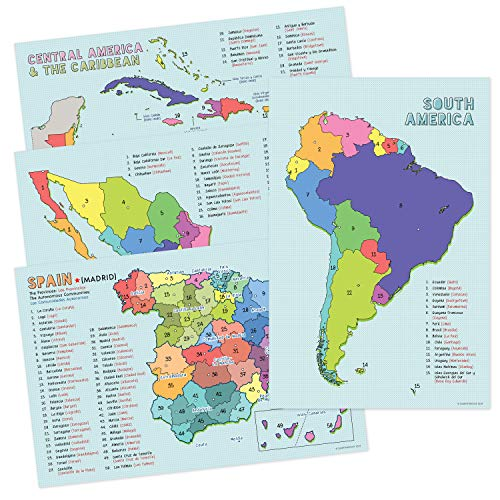 Spanish Language Country Maps for The Classroom - Spain, Mexico, Central America/Caribbean, South America - Set of 4, 12 x 18 Inches