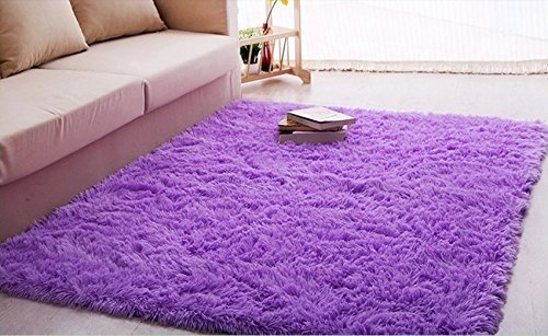 Ultra Soft 4.5 Cm Thick Indoor Morden Area Rugs Pads, New Arrival Fashion Color [Bedroom] [Livingroom] [Sitting-room] [Rugs] [Blanket] [Footcloth] for Home Decorate. Size: 4 Feet X 5 Feet (Purple) (Purple Room Rug)