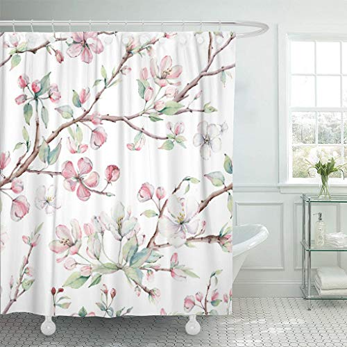Emvency Fabric Shower Curtain with Hooks Watercolor Blossom Apple Tree Branches and Flowers It's Perfect for Design Pink Branch 60