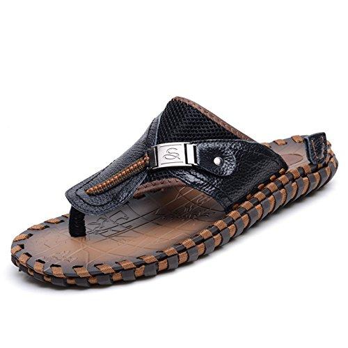 Xing Lin Uomini Sandali Estate Ragazzi Artigianale Di Flip Flop Uomini Pantofole Moda Uomo Sandali Da Spiaggia Clip Punta Antiscivolo Per Scarpe Da Uomo black