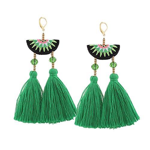 Green Beads Chandelier Earrings (Shoopic Boho Sector Chandelier Long Tassel Earrings Crystal Beaded Dangle Earrings)