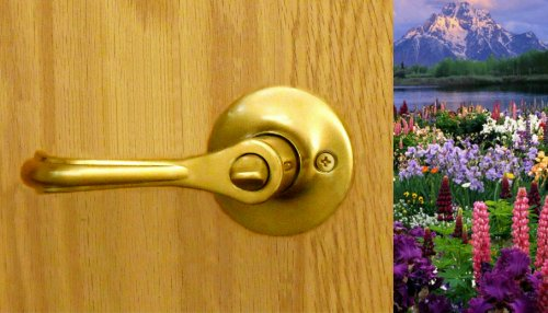 Eiffel Entry Lever Set by FPL Door Locks for Exterior Entrance or Patio Doors in Polished Brass Finish