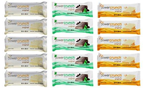 Power Crunch Protein Energy Bar Variety Pack, 15 bars - 1.4oz (40g) bars, 3 flavors