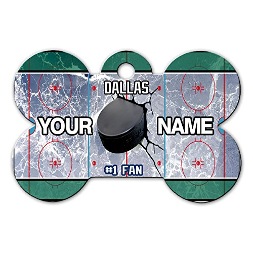 BleuReign(TM) Personalized Custom Name Hockey Team Dallas License Plate Bone Shaped Metal Pet ID Tag with Contact Information