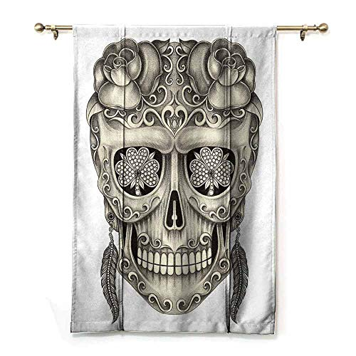 (Homrkey Roman Curtain Day of The Dead Spanish Sugar Skull with Roses Dragonfly Eyes Feather and Earrings Artwork Bedroom Balcony Living Room W36 xL72 Grey)