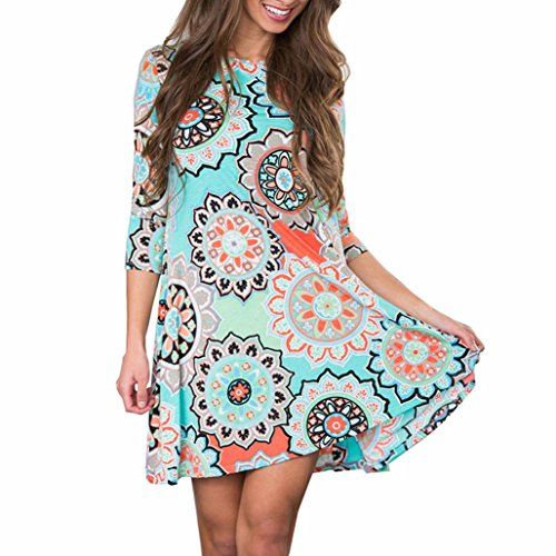 Price comparison product image Snowfoller Womens Summer Vintage Floral Printed Party Dress Beach Boho O-Neck Maxi Evening Party A-Line Cotton Dress (XXL, Blue)