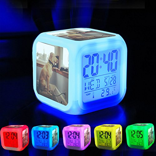 (Alarm Clock 7 LED Color Changing Wake Up Bedroom with Data and Temperature Display (Changable Color) Customize the pattern-215.Ensign Ella stands a proper watch of Coast Guard Station)