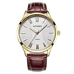 LONGBO Luxury Men's Brown Croco Leather Band Analog Quartz Roman Numral Business Watch Gold Case Couple Dress Watch Waterproof Gold Luminous Hand White Dial Wristwatch For Man