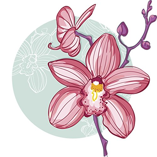 Pretty Watercolor Delicate Pink Orchid Flower Icon Vinyl Decal Sticker (12