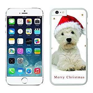 Custom Christmas Cute White Dog Red Hat White Phone Case For Iphone 6 4.7 Inch