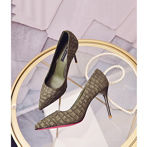 Heels Sexy 9cm Shallow Feminine Stone High Toe 34 Shoes Suede Pattern Mouth Size Black Shoes Elegant Green Pointed Wedding Color wOxOWfX0qp