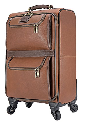Feixueer Genuine Leather Cowhide Spinner Carry on Business Luggage - 20 Inch Brown