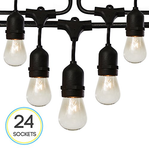 S14 24 Bulbs Outdoor String Lights with 6 Extra Bulbs and 13 Ft Extension Cord, 48 Feet - Commercial Weatherproof Patio String Lights (String Socket)