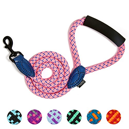 FitinPet Dog Leash with Comfortable Padded Handle Durable Rope 4 FT for The Perfect Length of Control Strong for Medium and Large Dogs - (Pink,1.4x120cm) by FitinPet