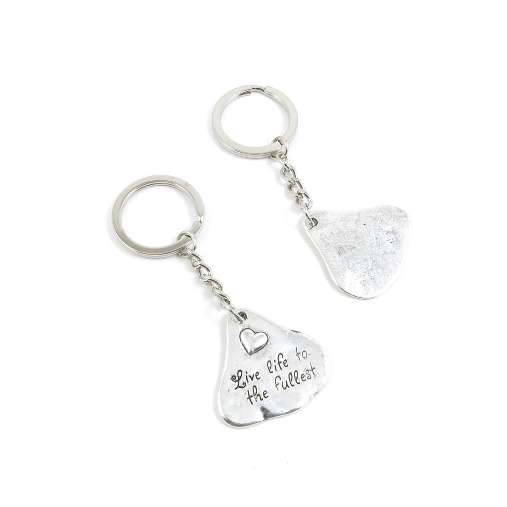 100 Pieces Keychain Door Car Key Chain Tags Keyring Ring Chain Keychain Supplies Antique Silver Tone Wholesale Bulk Lots Q8KR3 Heart Signs Tag