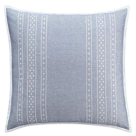 cupcakes and cashmere Euro Sham Chambray Dot Blue 100% - Pillow Cashmere