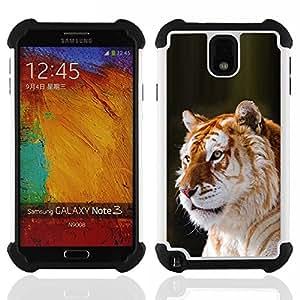 """SAMSUNG Galaxy Note 3 III / N9000 / N9005 - 3 en 1 impreso colorido de Altas Prestaciones PC Funda chaqueta Negro cubierta gel silicona suave (Tiger Naranja Piel del gato grande de África Tropical"""")"""
