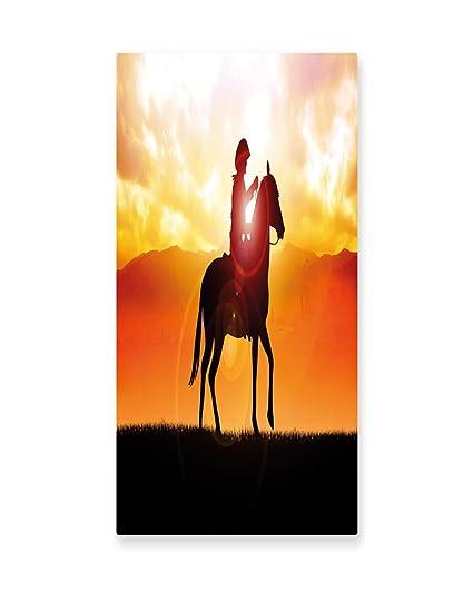 Amazon.com: Lunarable Western Wall Art, Silhouette Cowboy Riding a ...