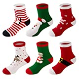 6 Pack Baby Boy Girl Toddler Socks Christmas Holiday Cotton Funny Crew Socks for Gift by LifeWheel
