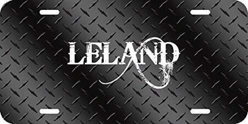 Any and All Graphics Leland Name on Black Diamond Tread Affect Novelty License Plate Sign ()