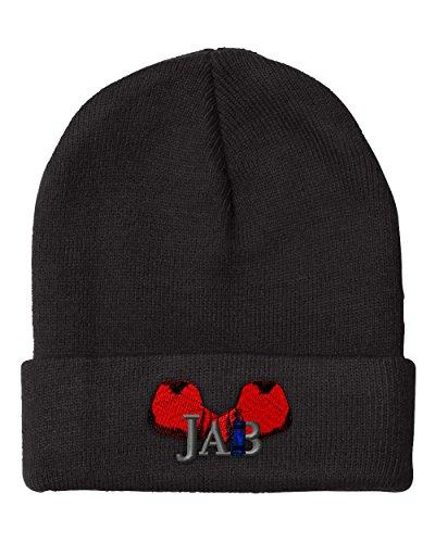 Speedy Pros Sport Boxing Combat Glove Jab Embroidered Unisex Adult Acrylic Beanie Winter Hat - Black, One Size