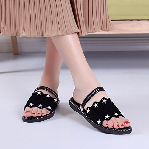 for Beach Wide 7 Shoes Flat Glitter Sandals Peep Slipper Summer Lolittas Slingback 2 Fit Outdoor Black Diamante Strappy Toe Sparkly Jewelled Women Ladies Star Size Raqw7RFgY