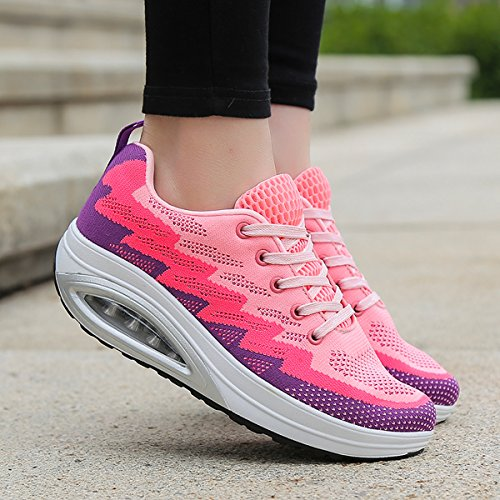 JARLIF Frauen Bequeme Plattform Walking Sneakers Leichte Casual Tennis Air Fitness Schuhe US5.5-10 Rosa