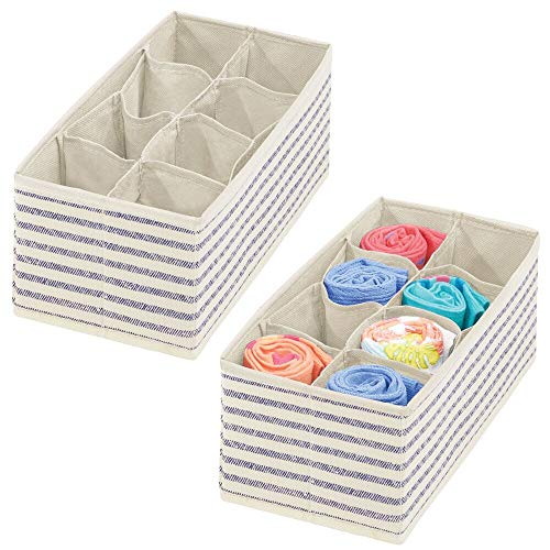 mDesign Soft Fabric Dresser Drawer and Closet Storage Organizer for Child/Kids Room or Nursery - 8 Section Rectangular Organizer - Stripe Print - 2 Pack - Natural/Cobalt Blue