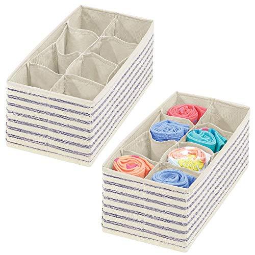 Organizador de almacenamiento de armario y cajones de tela suave mDesign para habitación de niños / niños o guardería - Organizador rectangular de 8 secciones - Estampado de rayas - Paquete de 2 - Azul natural / azul cobalto
