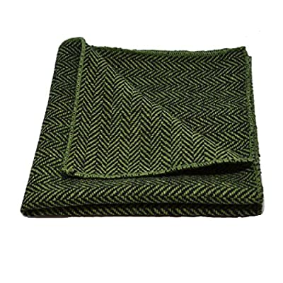 Pickle Green & Black Herringbone Pocket Square, Handkerchief
