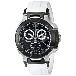 Tissot Men's T0484172705705 T-Race Black Chronograph Watch with White Rubber Strap