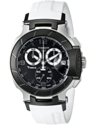 Tissot Mens T0484172705705 T-Race Black Chronograph Watch with White Rubber Strap