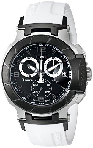 Tissot Men's T0484172705705 T-Race Black Chronograph Watch with White Rubber Strap (White Watch Tissot)