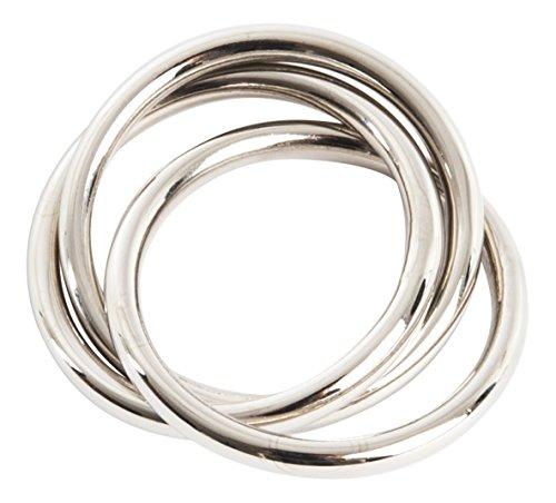 SARO LIFESTYLE Three Napkin Rings (4 Pack), Silver (Ring Holder Place Card Napkin)