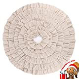 "Big Sale Burlap Natural Ruffled Tree Skirt 50"" Linen Large Christmas Tree Skirt,Christmas Home Decoration"